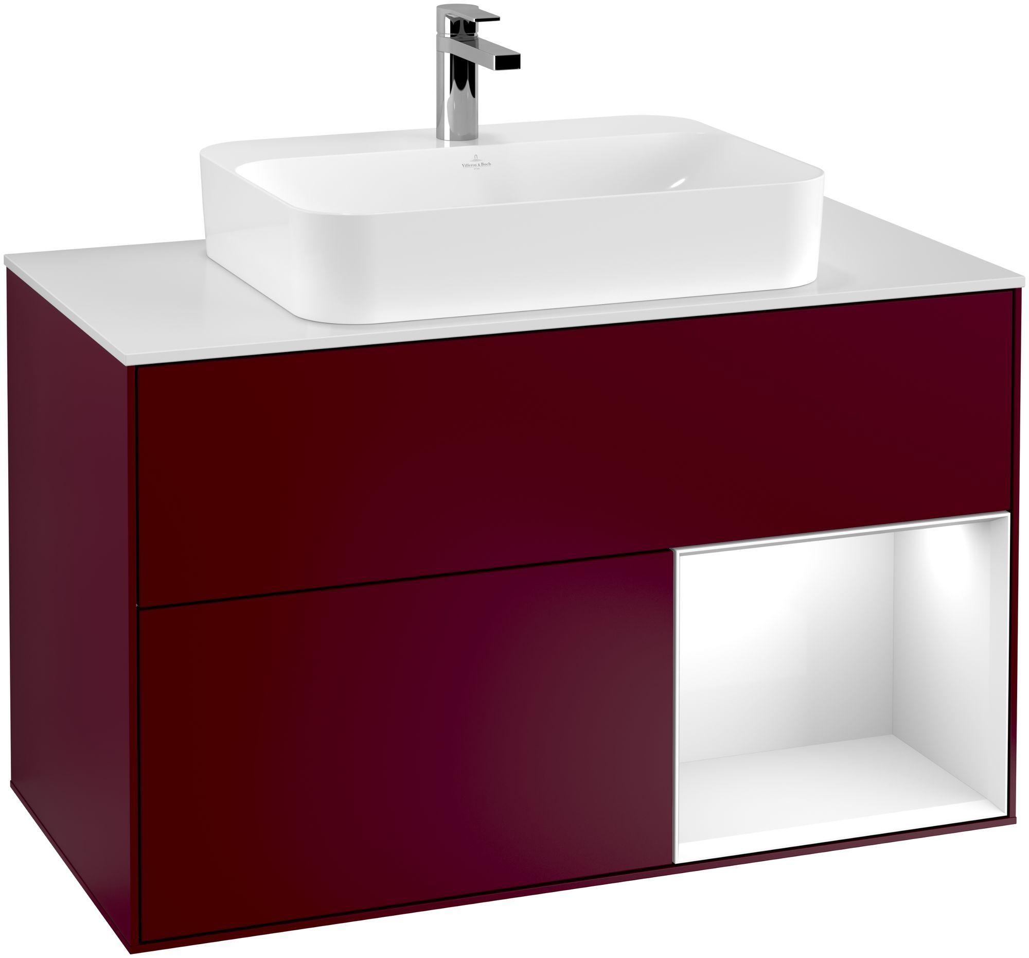 Villeroy & Boch Finion F37 Waschtischunterschrank mit Regalelement 2 Auszüge für WT mittig LED-Beleuchtung B:100xH:60,3xT:50,1cm Front, Korpus: Peony, Regal: Glossy White Lack, Glasplatte: White Matt F371GFHB