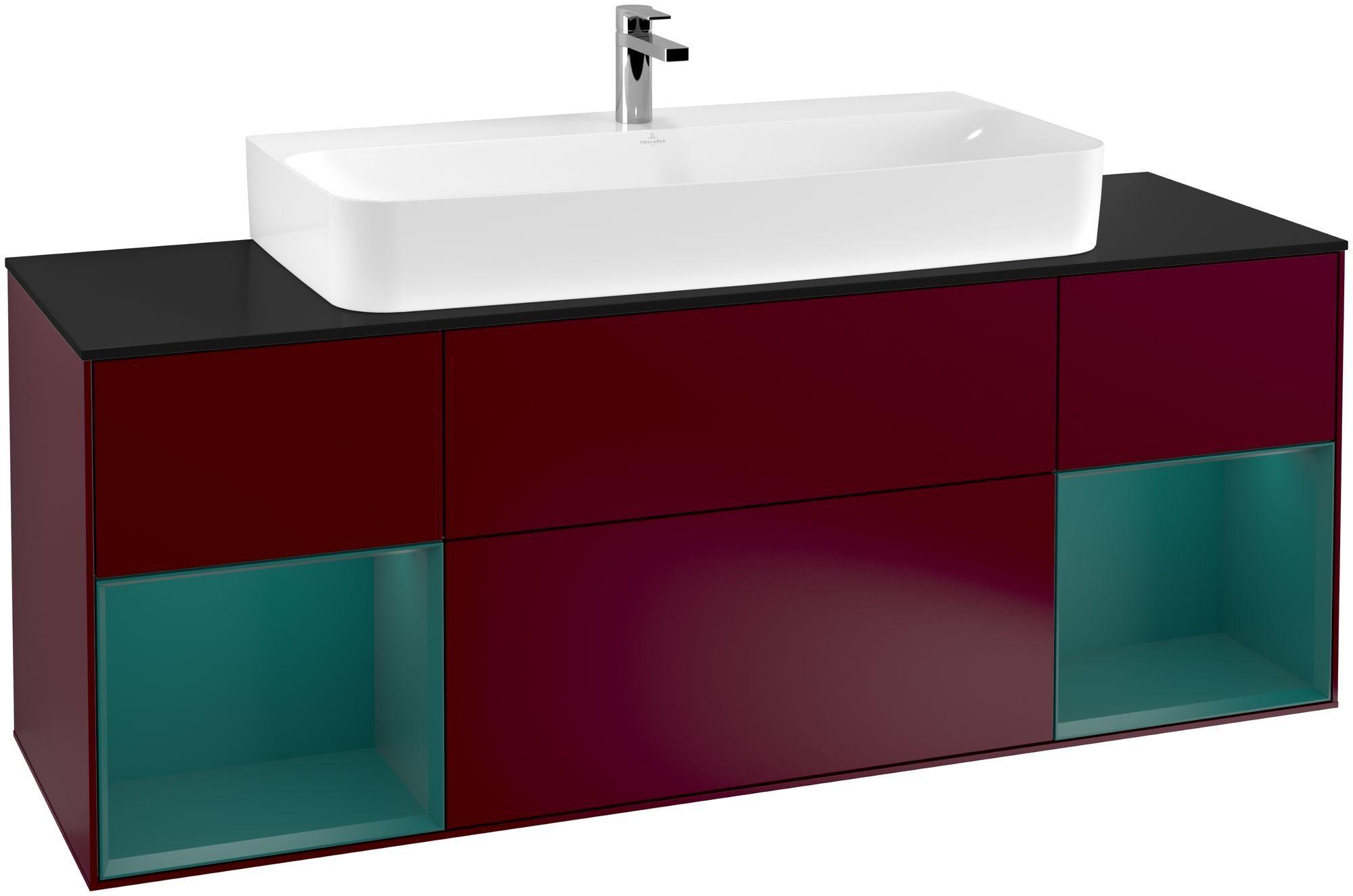 Villeroy & Boch Finion G21 Waschtischunterschrank mit Regalelement 4 Auszüge Waschtisch mittig LED-Beleuchtung B:160xH:60,3xT:50,1cm Front, Korpus: Peony, Regal: Cedar, Glasplatte: Black Matt G212GSHB
