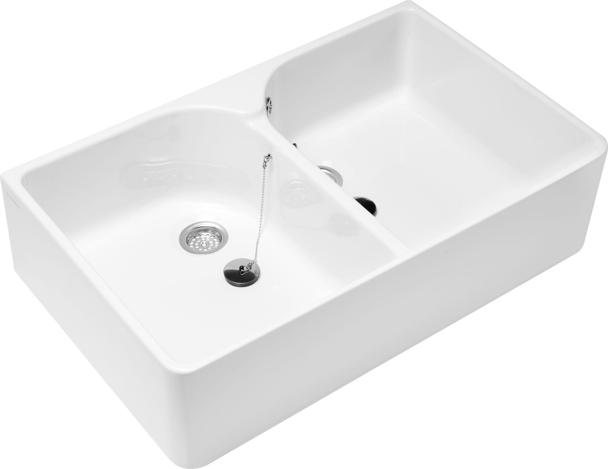 Villeroy & Boch O.novo Doppelwaschtisch B:89,5xT:55cm ohne Hahnloch mit Überlauf weiß mit Ceramicplus 633200R1