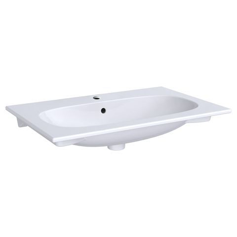 Geberit Keramag Acanto Möbelwaschtisch Slim B:75 x T:48 cm mit Hahnloch mit Überlauf  weiß KeraTect 500641018