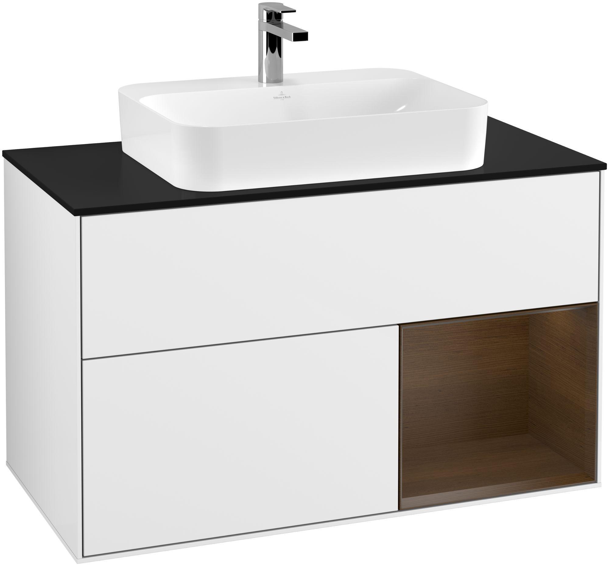 Villeroy & Boch Finion F37 Waschtischunterschrank mit Regalelement 2 Auszüge für WT mittig LED-Beleuchtung B:100xH:60,3xT:50,1cm Front, Korpus: Glossy White Lack, Regal: Walnut Veneer, Glasplatte: Black Matt F372GNGF