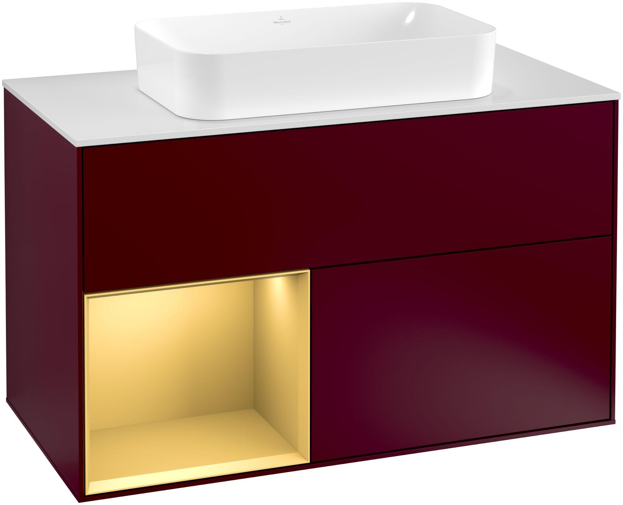 Villeroy & Boch Finion F24 Waschtischunterschrank mit Regalelement 2 Auszüge für WT mittig LED-Beleuchtung B:100xH:60,3xT:50,1cm Front, Korpus: Peony, Regal: Gold Matt, Glasplatte: White Matt F241HFHB