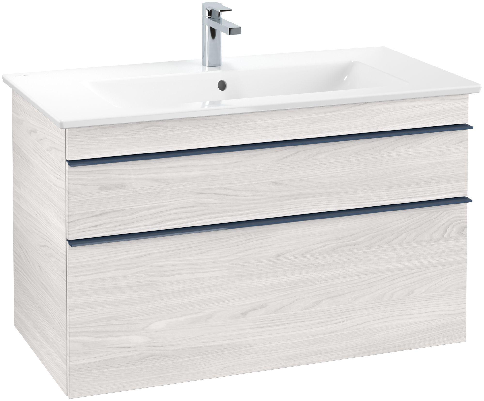 Villeroy & Boch Venticello Waschtischunterschrank 2 Auszüge B:95,3xH:59xT:50,2cm white wood Griffe blau Griffe blau A92604E8