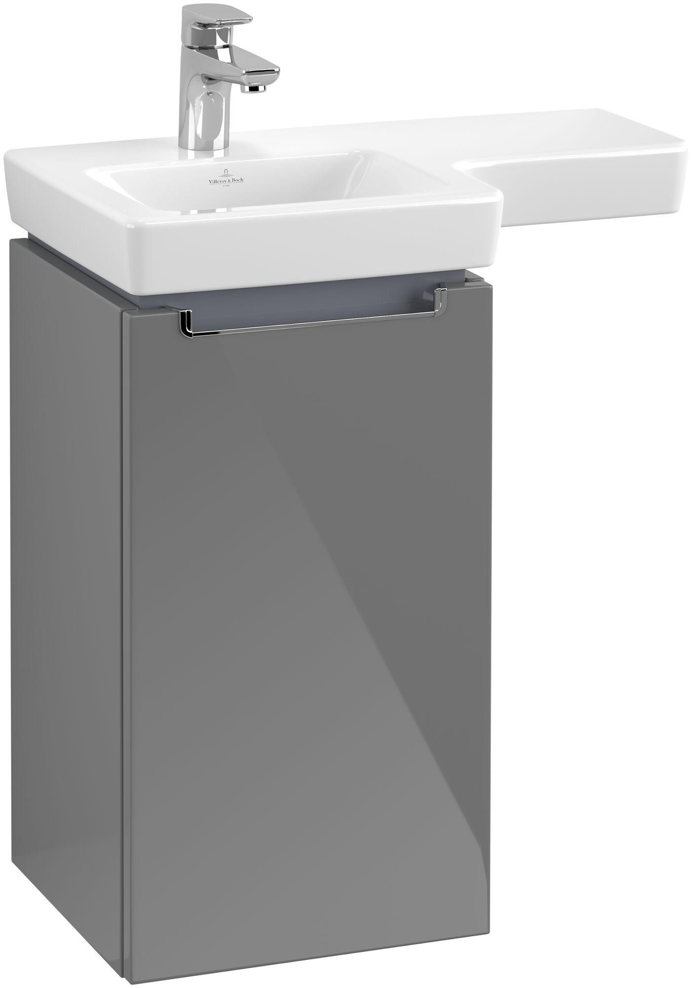 Villeroy & Boch Subway 2.0 Waschtischunterschrank 1 Tür Anschlag links B:350xT:335xH:620mm glossy grey Griffe chrom A81610FP