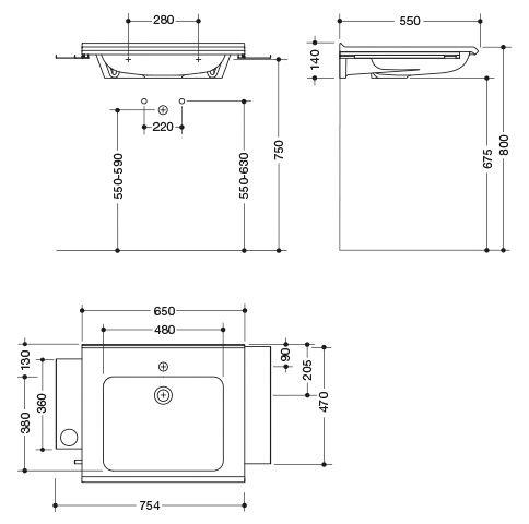 Hewi Waschtisch mit Ablagen und Haken unterfahrbar B:65xT:55cm unterfahrbar mit Ablagefläche ohne Überlauf weiß 950.19.074 DC