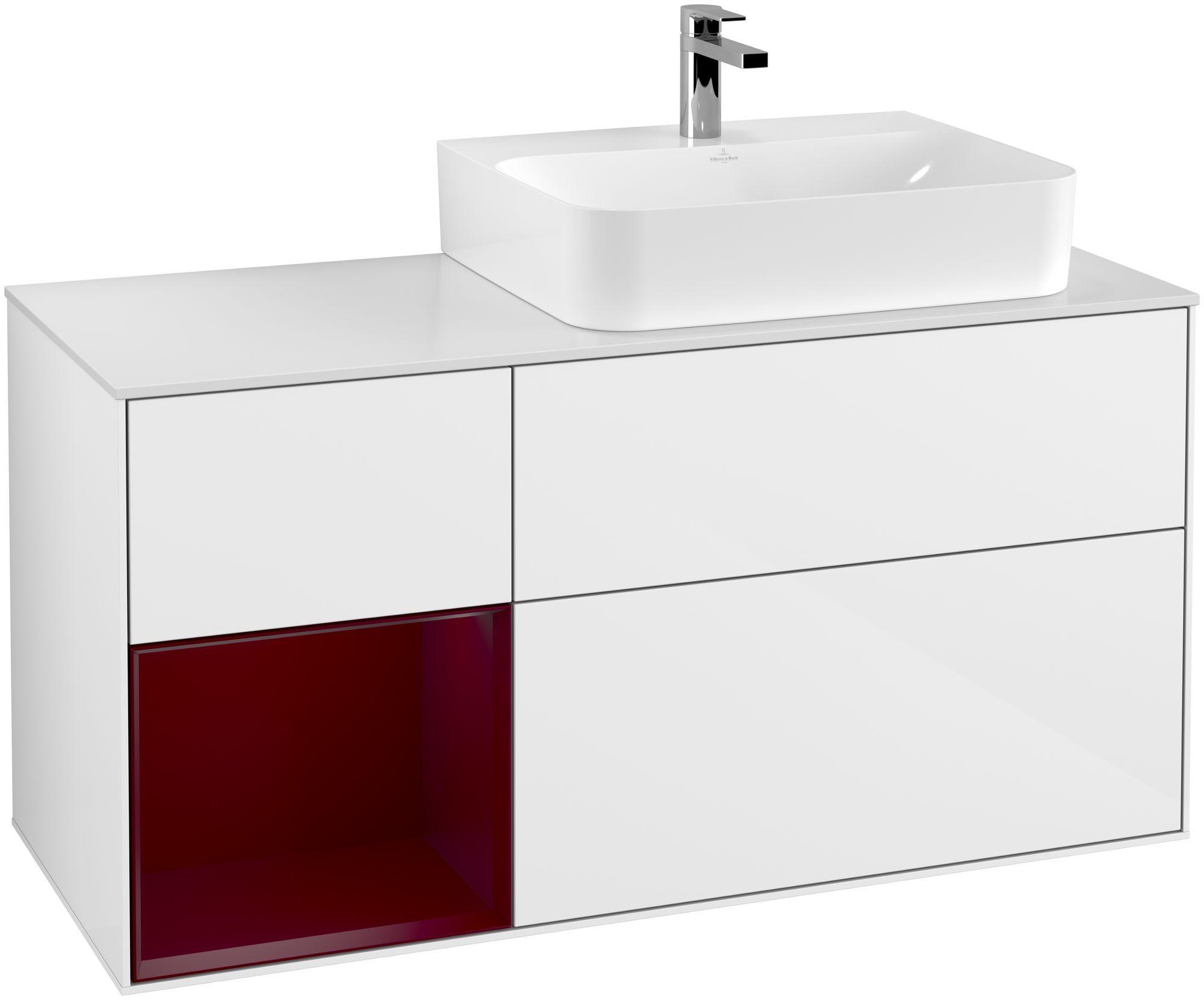 Villeroy & Boch Finion F14 Waschtischunterschrank mit Regalelement 3 Auszüge Waschtisch rechts LED-Beleuchtung B:120xH:60,3xT:50,1cm Front, Korpus: Glossy White Lack, Regal: Peony, Glasplatte: White Matt F141HBGF