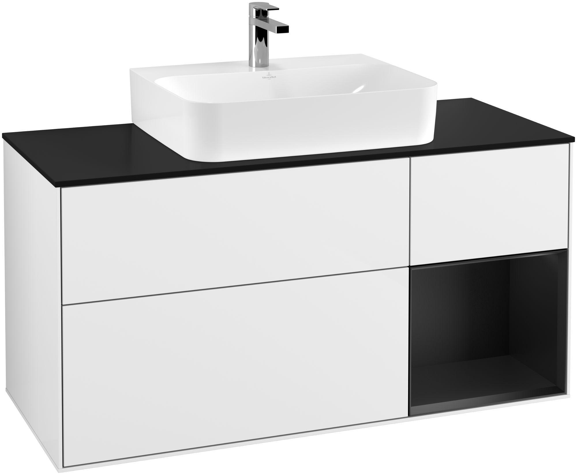 Villeroy & Boch Finion G17 Waschtischunterschrank mit Regalelement 3 Auszüge Waschtisch mittig LED-Beleuchtung B:120xH:60,3xT:50,1cm Front, Korpus: Glossy White Lack, Regal: Black Matt Lacquer, Glasplatte: Black Matt G172PDGF