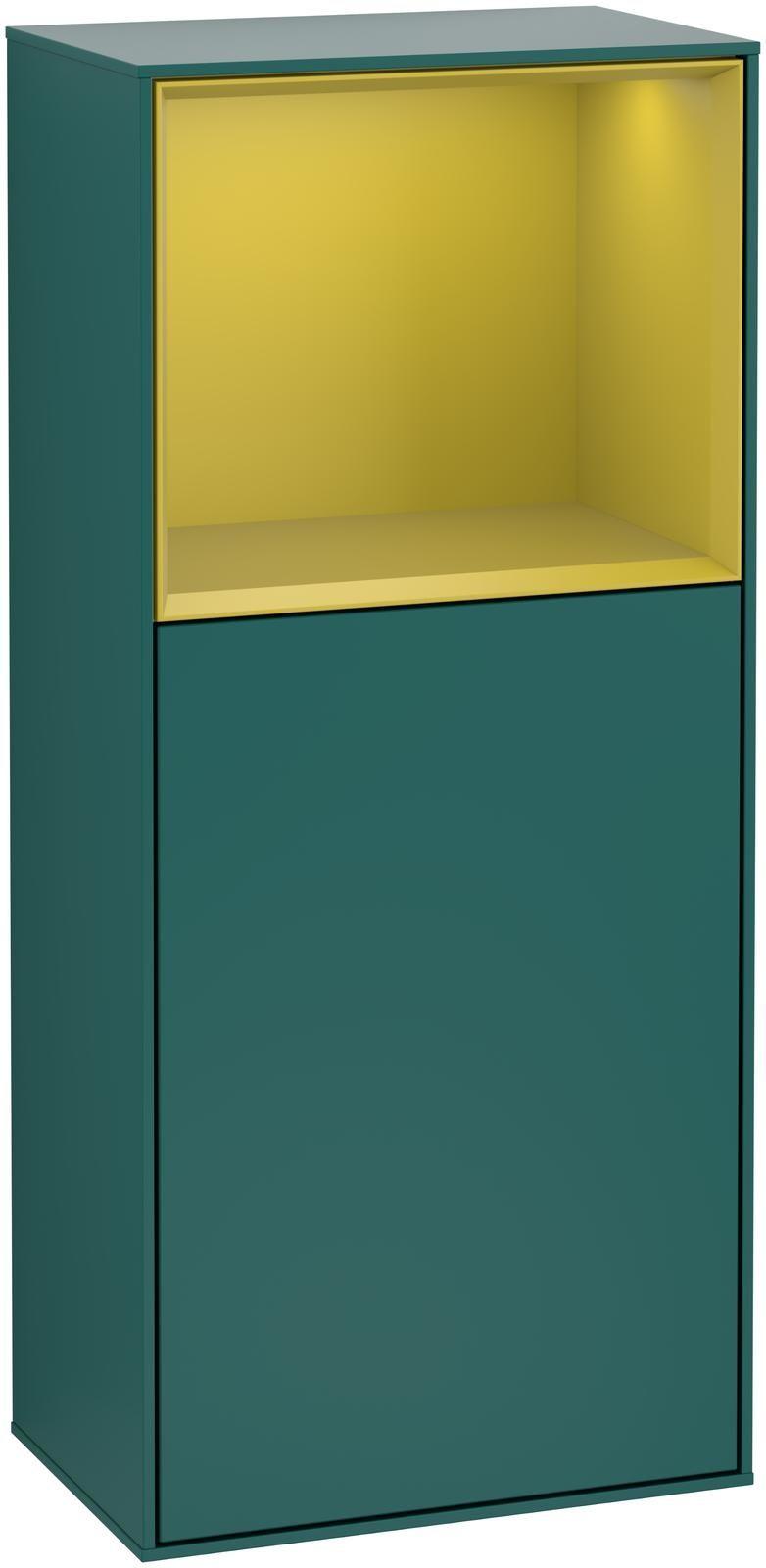 Villeroy & Boch Finion G52 Seitenschrank mit Regalelement 1 Tür Anschlag links LED-Beleuchtung B:41,8xH:93,6xT:27cm Front, Korpus: Cedar, Regal: Sun G520HEGS