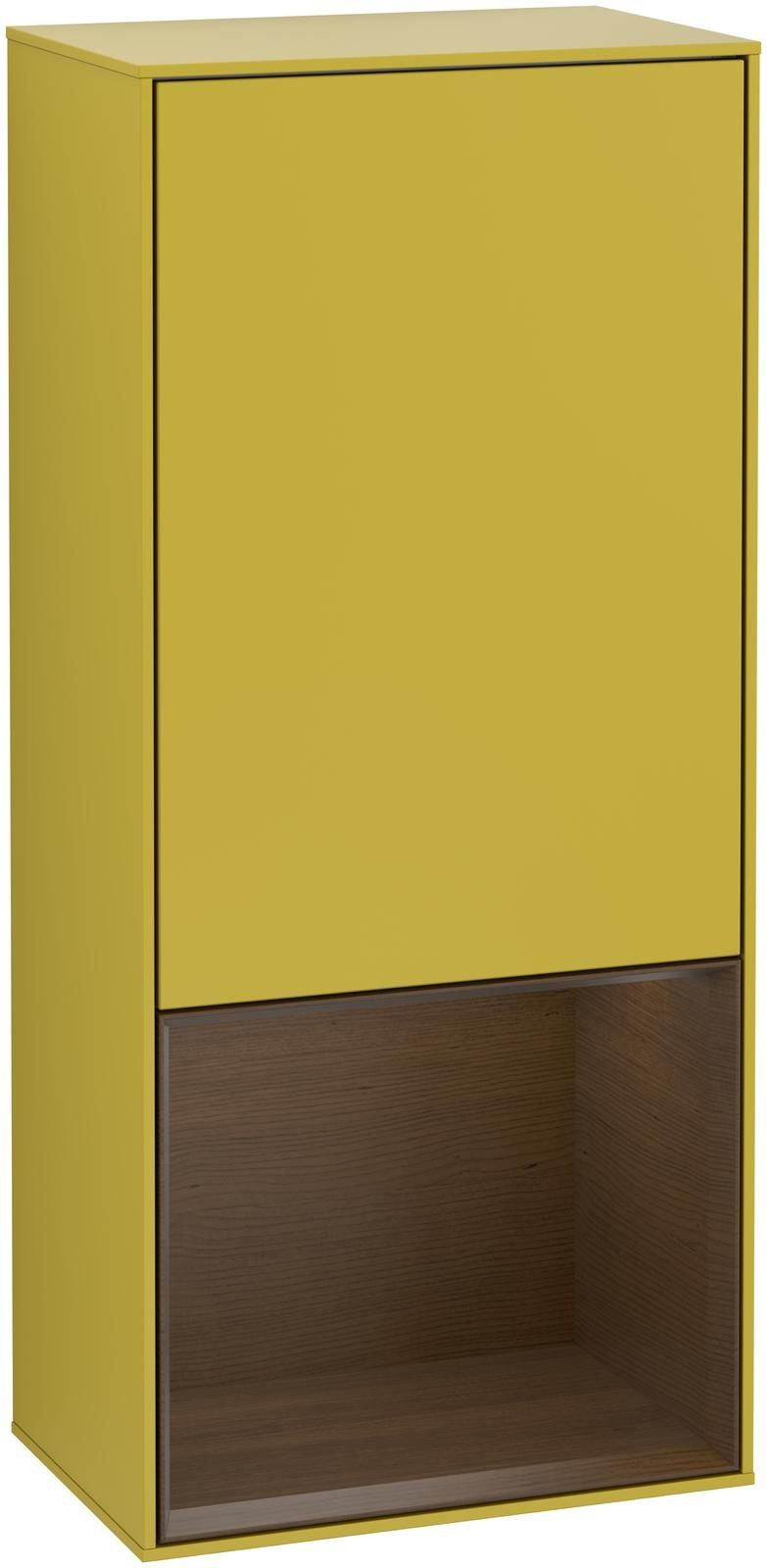 Villeroy & Boch Finion F55 Seitenschrank mit Regalelement 1 Tür Anschlag rechts LED-Beleuchtung B:41,8xH:93,6xT:27cm Front, Korpus: Sun, Regal: Walnut Veneer F550GNHE