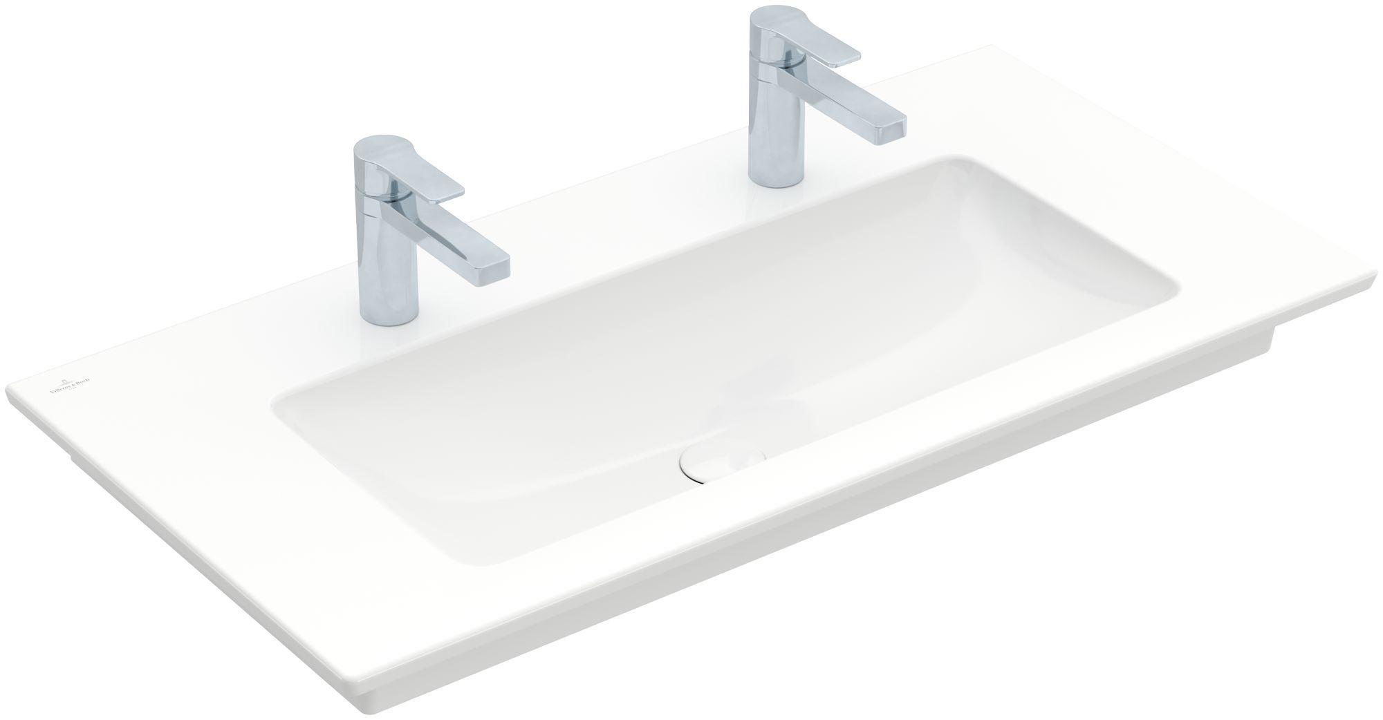 Villeroy & Boch Venticello Möbelwaschtisch B:100xT:50cm 2 Hahnlöcher ohne Überlauf weiß 4104AG01