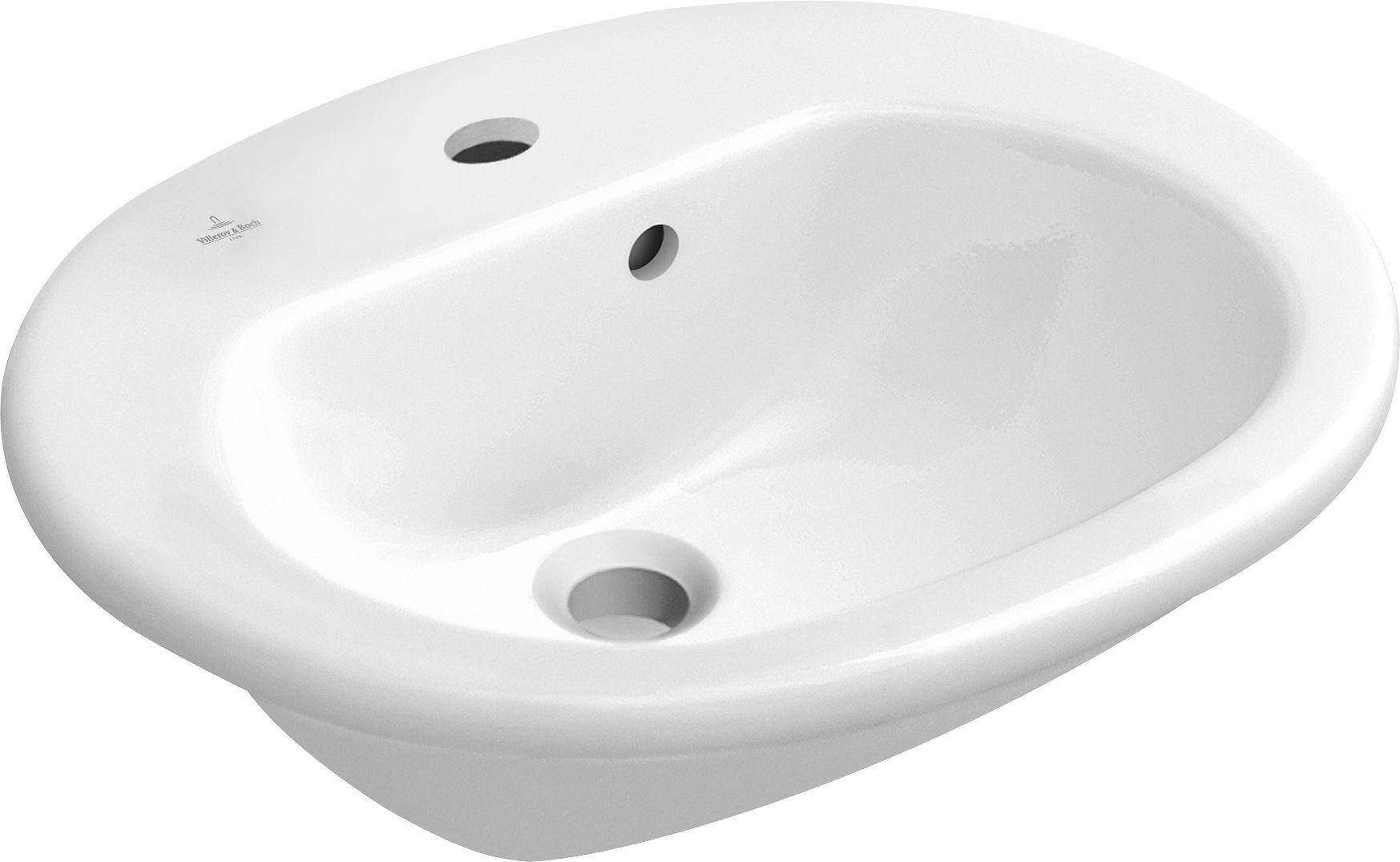 Villeroy & Boch O.novo Vorbauwaschtisch B:54xT:45cm 1 Hahnloch mit Überlauf weiß 41605501