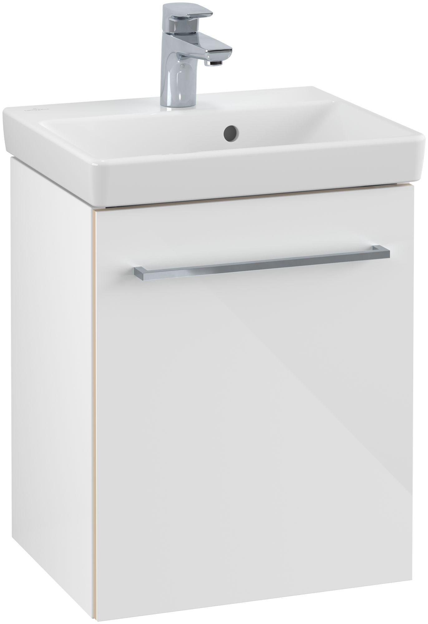 Villeroy & Boch Avento Waschtischunterschrank mit 1 Tür Türanschlag links B:41,7xH:52xT:34,6 cm crystal white A88700B4