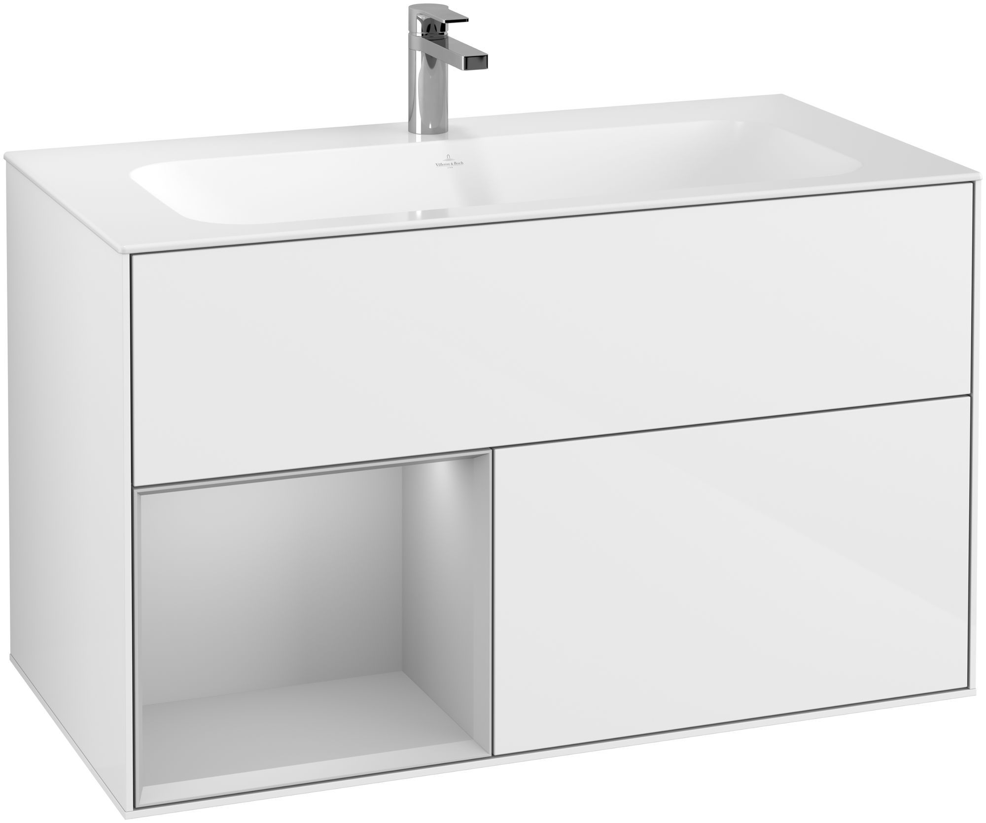 Villeroy & Boch Finion F03 Waschtischunterschrank mit Regalelement 2 Auszüge LED-Beleuchtung B:99,6xH:59,1xT:49,8cm Front, Korpus: Glossy White Lack, Regal: Light Grey Matt F030GJGF