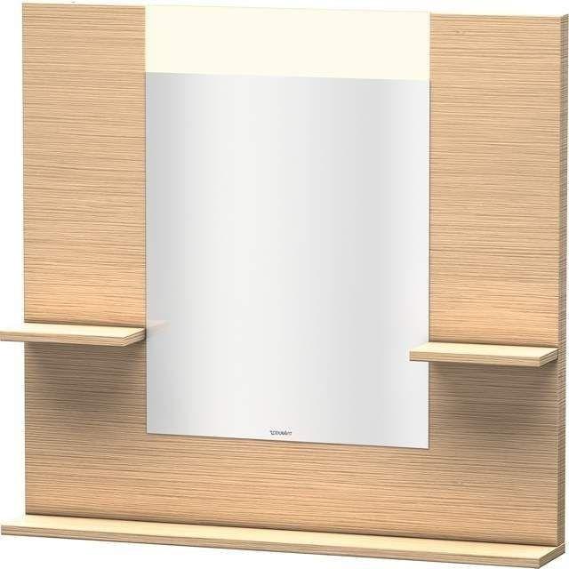 Duravit Vero Spiegel mit LED-Beleuchtung B:85xH:80xT:14,2cm mit Ablagen rechts links und unten eiche gebürstet VE735001212