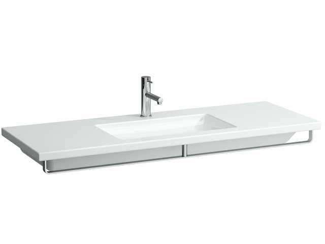 Laufen living square Unterbauwaschtisch B:130xT:48cm 3 Hahnlöcher mit Überlauf unterbaufähig weiß H8164350001081