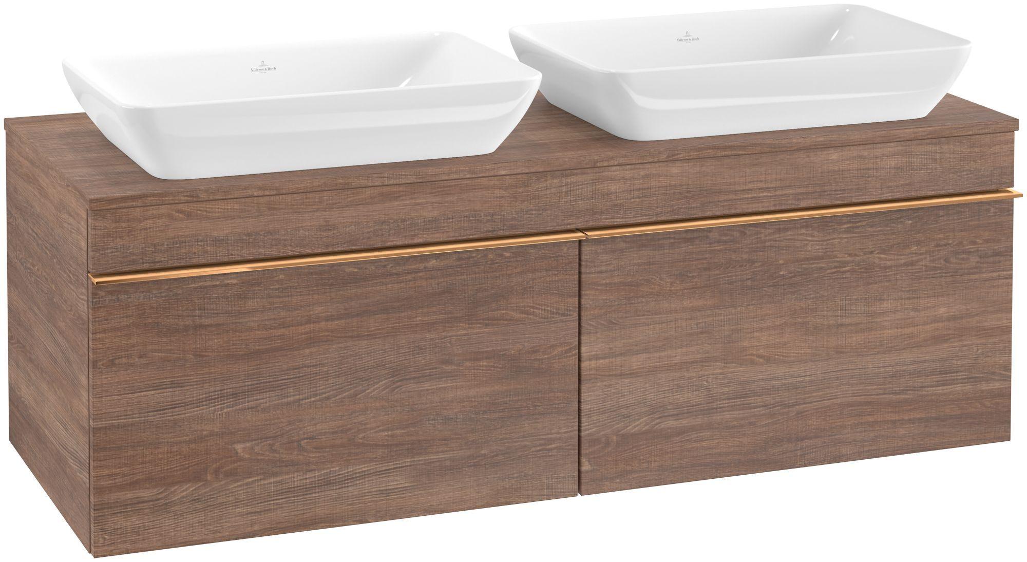 Villeroy & Boch Venticello Waschtischunterschrank für 2 Waschtische 2 Auszüge B:125,7xH:43,6xT:50,2cm santana oak Griffe copper A94905E1