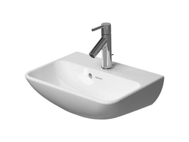 Duravit ME by Starck Handwaschbecken B:45cm 1 Hahnloch-Vorstich mit Überlauf weiß mit Wondergliss 07194500101