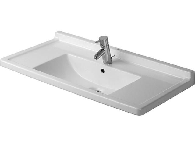Duravit Starck 3 Möbelwaschtisch B:85xT:48,5cm 1 Hahnloch mittig mit Überlauf weiß 0304800000