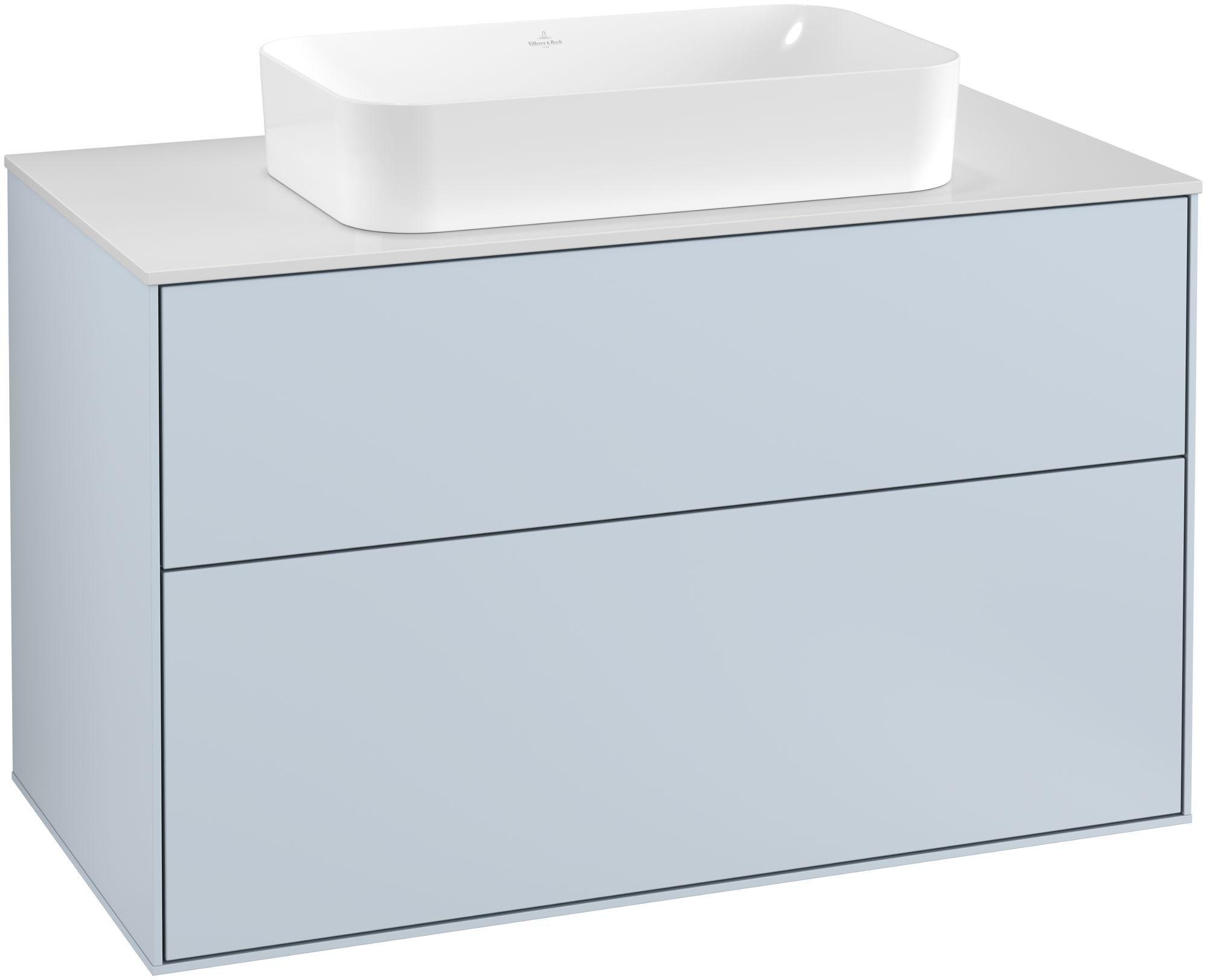 Villeroy & Boch Finion G23 Waschtischunterschrank 2 Auszüge Waschtisch mittig LED-Beleuchtung B:100xH:60,3xT:50,1cm Front, Korpus: Cloud, Glasplatte: White Matt G23100HA