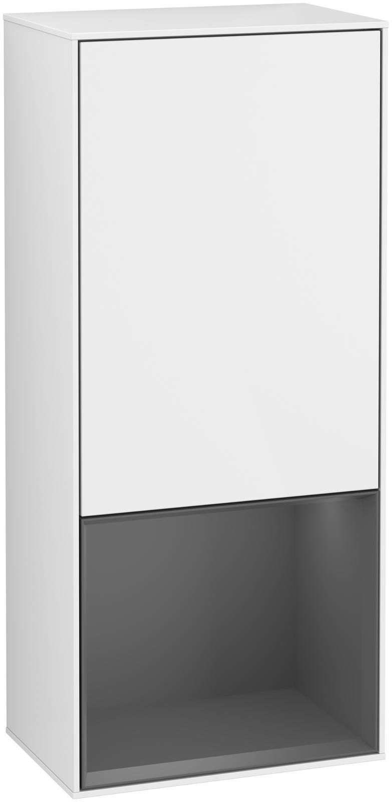 Villeroy & Boch Finion F54 Seitenschrank mit Regalelement 1 Tür Anschlag links LED-Beleuchtung B:41,8xH:93,6xT:27cm Front, Korpus: Glossy White Lack, Regal: Anthracite Matt F540GKGF