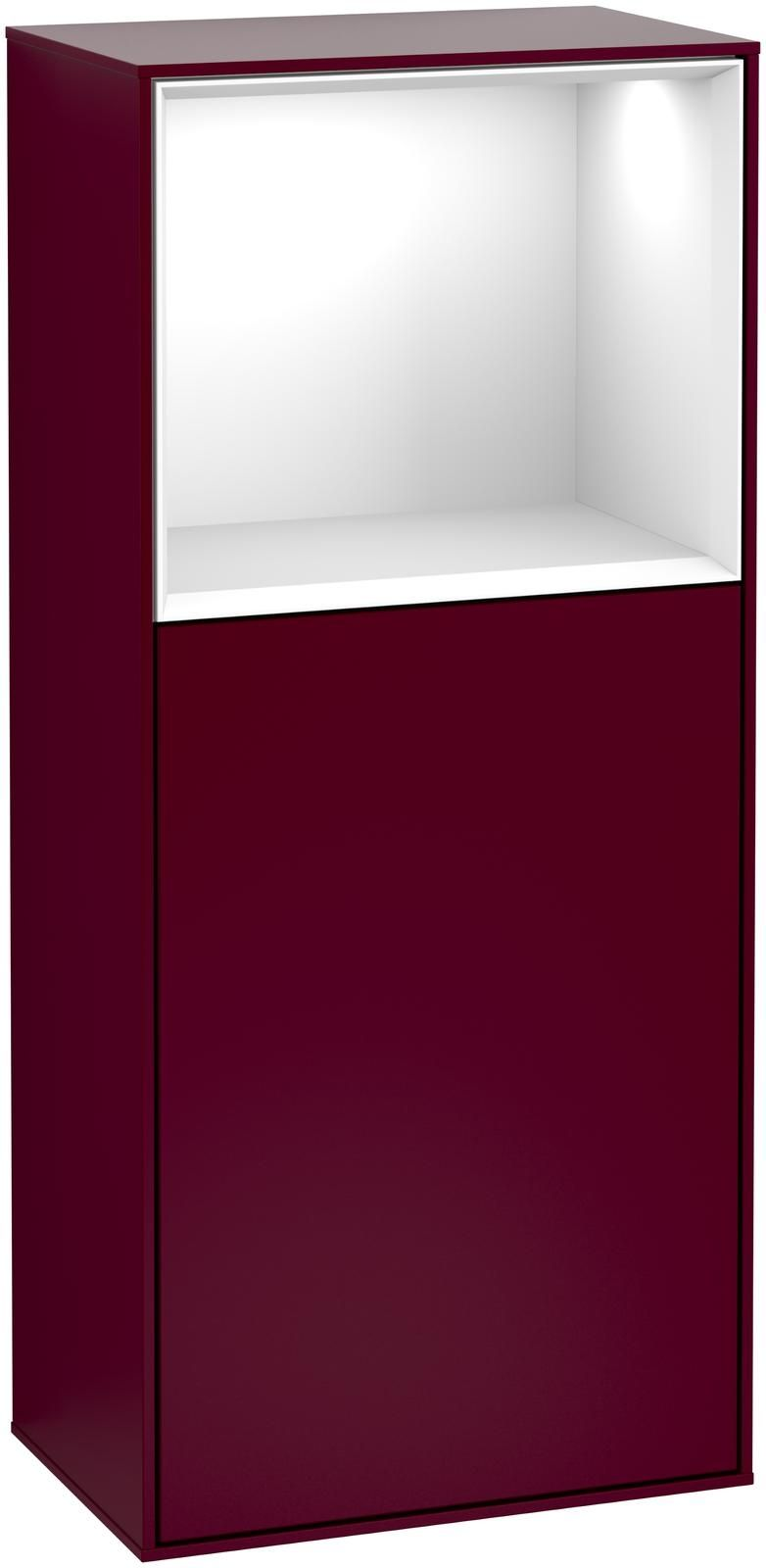 Villeroy & Boch Finion F52 Seitenschrank mit Regalelement 1 Tür Anschlag links LED-Beleuchtung B:41,8xH:93,6xT:27cm Front, Korpus: Peony, Regal: Glossy White Lack F520GFHB