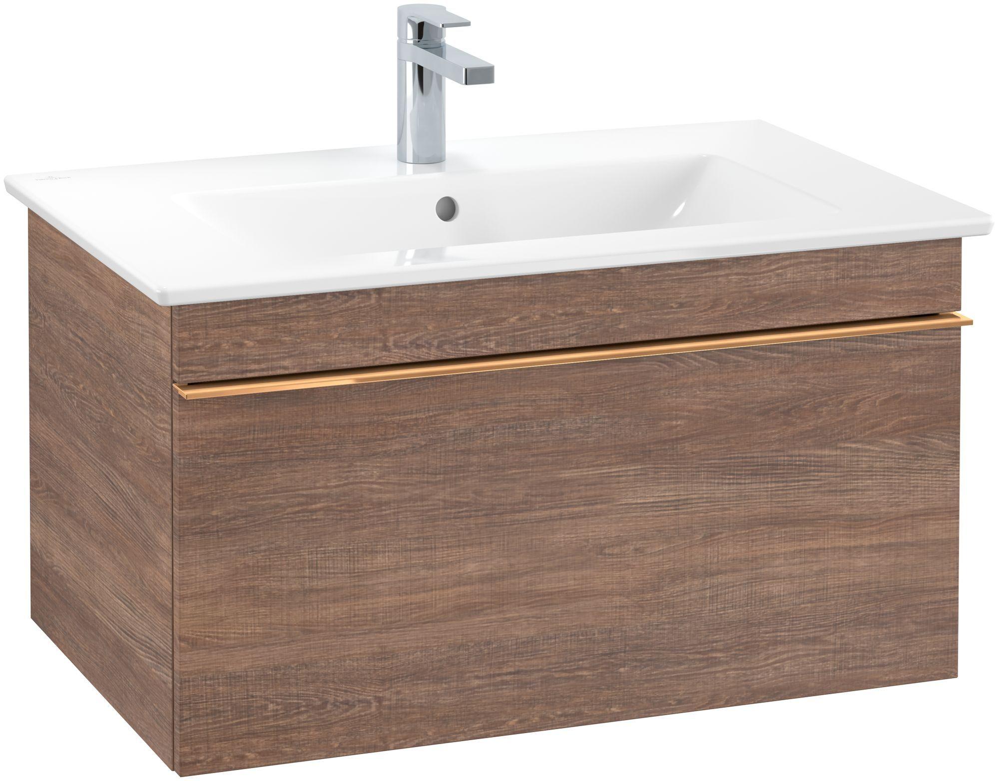 Villeroy & Boch Venticello Waschtischunterschrank 1 Auszug B:75,3xH:42xT:50,2cm santana oak Griffe copper A93405E1
