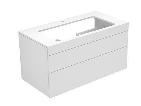 Keuco Edition 400 Waschtischunterbau mit Hahnlochbohrung 2 Auszüge 1050 x 546 x 535 mm titan/Glas titan satiniert 31582160100