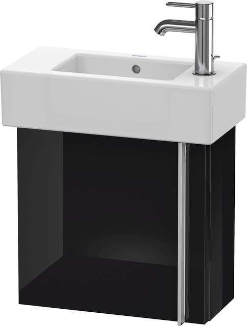 Duravit Vero Waschtischunterschrank wandhängend B:45xH:42,8xT:21,1cm 1 Tür Türanschlag links schwarz hochglanz VE6270L4040