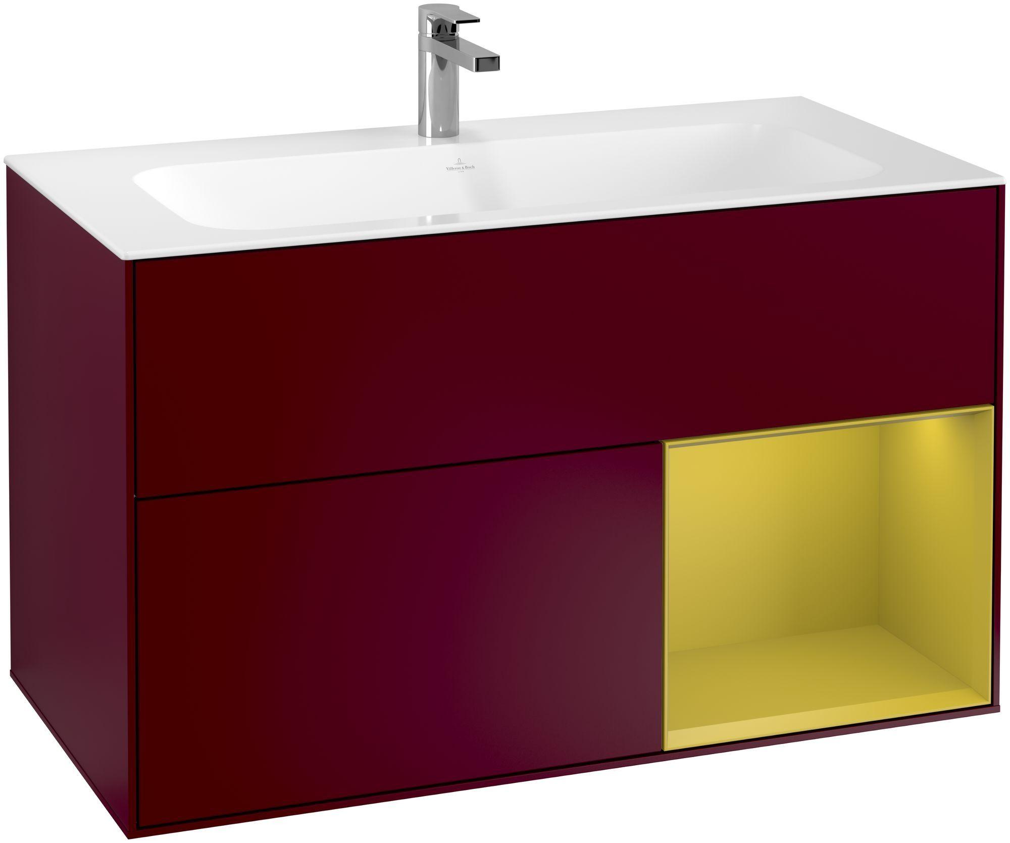 Villeroy & Boch Finion F04 Waschtischunterschrank mit Regalelement 2 Auszüge LED-Beleuchtung B:99,6xH:59,1xT:49,8cm Front, Korpus: Peony, Regal: Sun F040HEHB