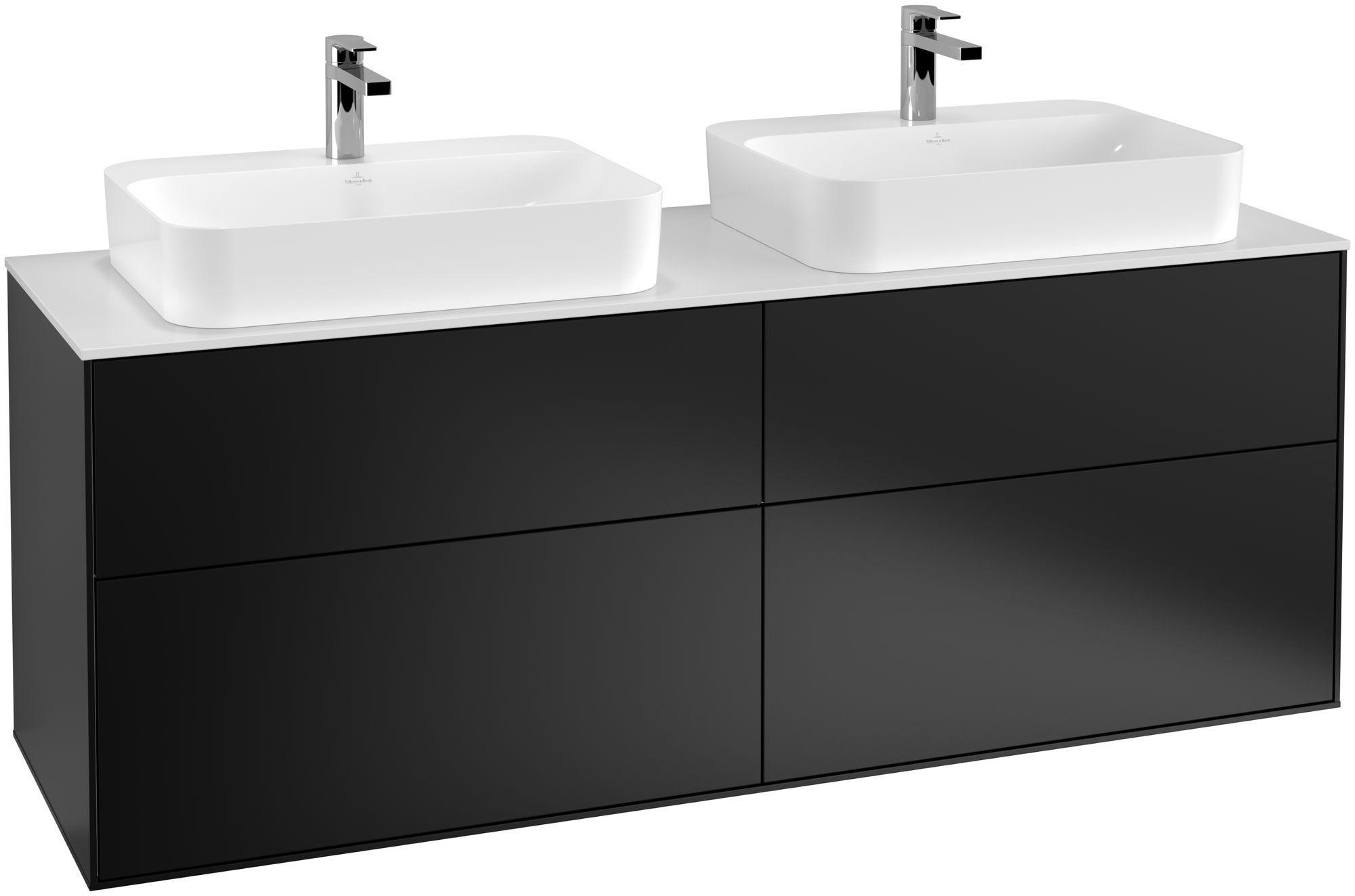 Villeroy & Boch Finion G43 Waschtischunterschrank 4 Auszüge LED-Beleuchtung B:160xH:60,3xT:50,1cm Front, Korpus: Black Matt Lacquer, Glasplatte: White Matt G43100PD