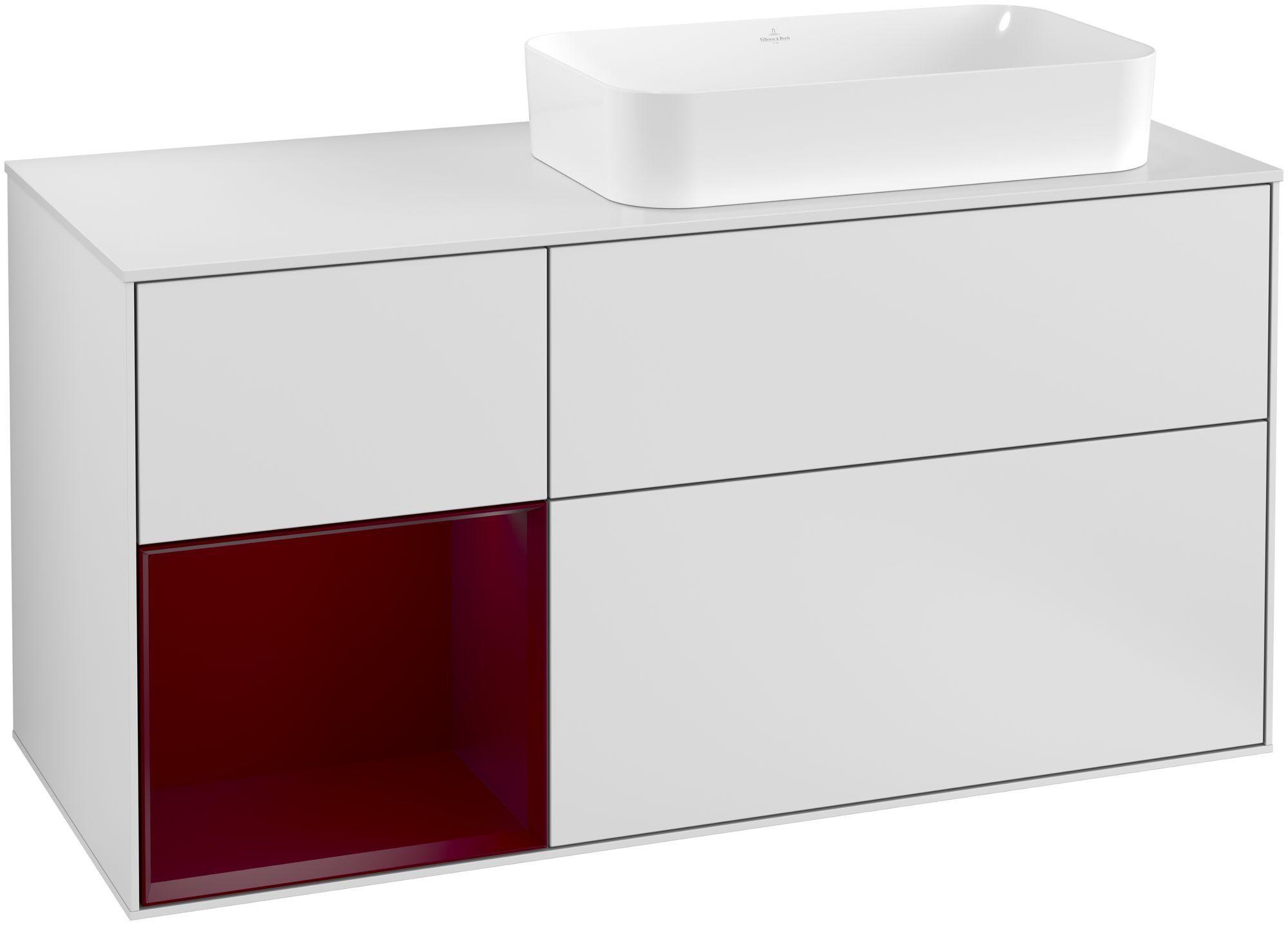 Villeroy & Boch Finion F27 Waschtischunterschrank mit Regalelement 3 Auszüge Waschtisch rechts LED-Beleuchtung B:120xH:60,3xT:50,1cm Front, Korpus: Weiß Matt Soft Grey, Regal: Peony, Glasplatte: White Matt F271HBMT