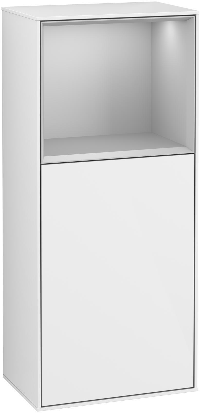 Villeroy & Boch Finion F52 Seitenschrank mit Regalelement 1 Tür Anschlag links LED-Beleuchtung B:41,8xH:93,6xT:27cm Front, Korpus: Glossy White Lack, Regal: Light Grey Matt F520GJGF
