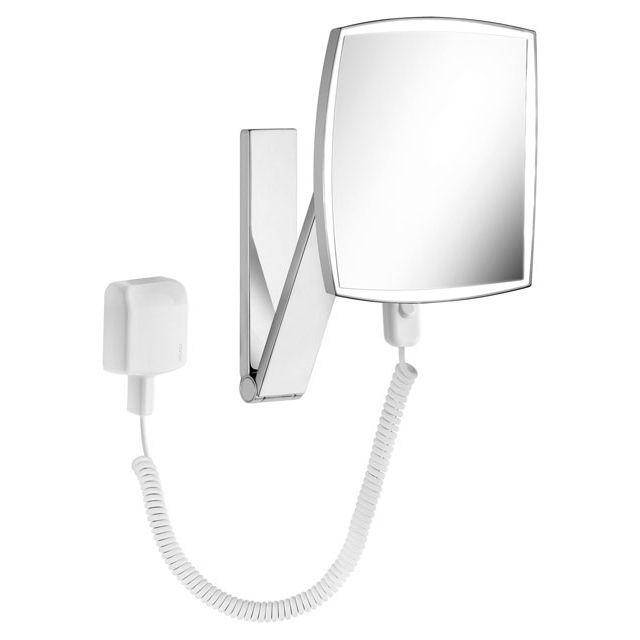 Keuco iLook_move Kosmetikspiegel beleuchtet mit Steckertransformator an Schwenkarm 17613019001