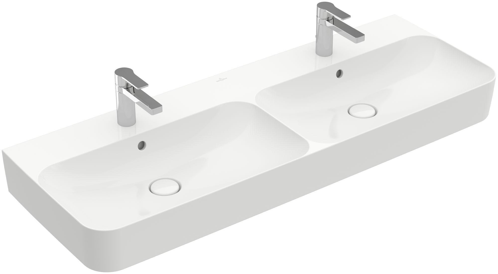 Villeroy & Boch Finion Doppelwaschtisch mit Überlauf 2x1 Hahnloch B:130xT:47cm mit Überlauf 2x1 Hahnloch weiß Ceramicplus 4139DKR1