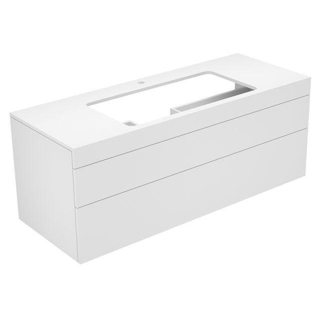 Keuco Edition 400 Waschtischunterbau mit Hahnlochbohrung 2 Auszüge 1400 x 546 x 535 mm cashmere/Glas cashmere satiniert 31583280100