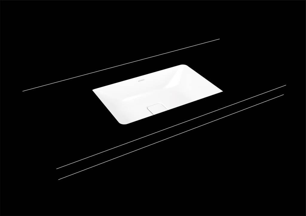 Kaldewei Cono Unterbauwaschtisch 3087 B:56,9xT:38,2cm ohne Überlauf ohne Hahnloch weiß mit Perl-Effekt 902306003001
