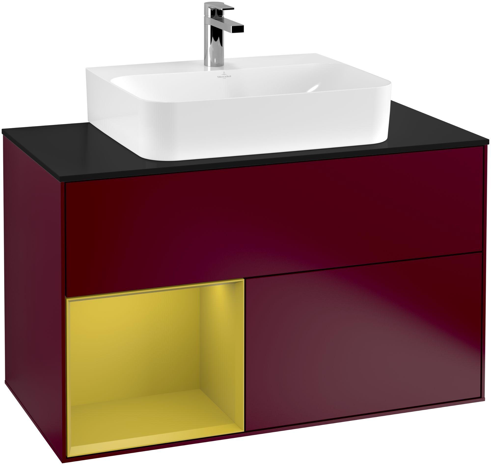 Villeroy & Boch Finion F11 Waschtischunterschrank mit Regalelement 2 Auszüge für WT mittig LED-Beleuchtung B:100xH:60,3xT:50,1cm Front, Korpus: Peony, Regal: Sun, Glasplatte: Black Matt F112HEHB