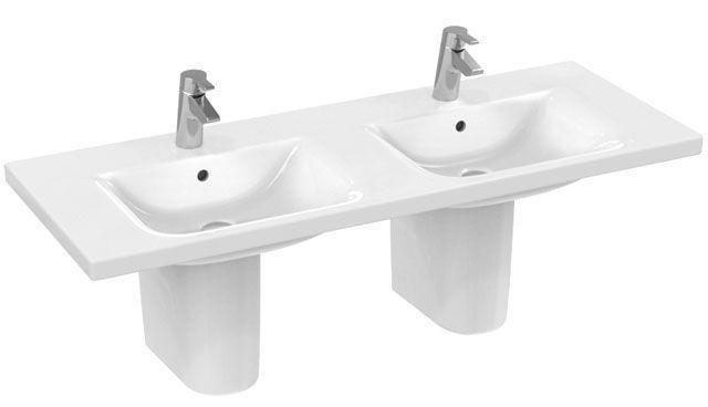 Ideal Standard Contour 21 Möbel-Doppelwaschtisch B:130xT:49cm 1 Hahnloch mittig mit Überlauf weiß mit Ideal Plus E8136MA