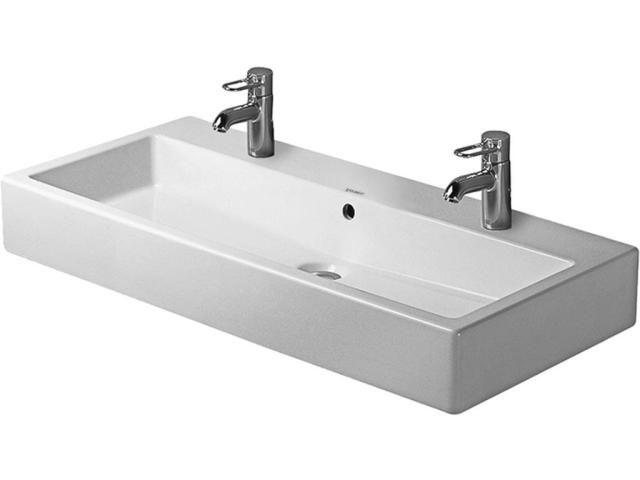Duravit Vero Waschtisch B:100xT:47cm 2x1 Hahnloch mit Überlauf weiß 0454100024