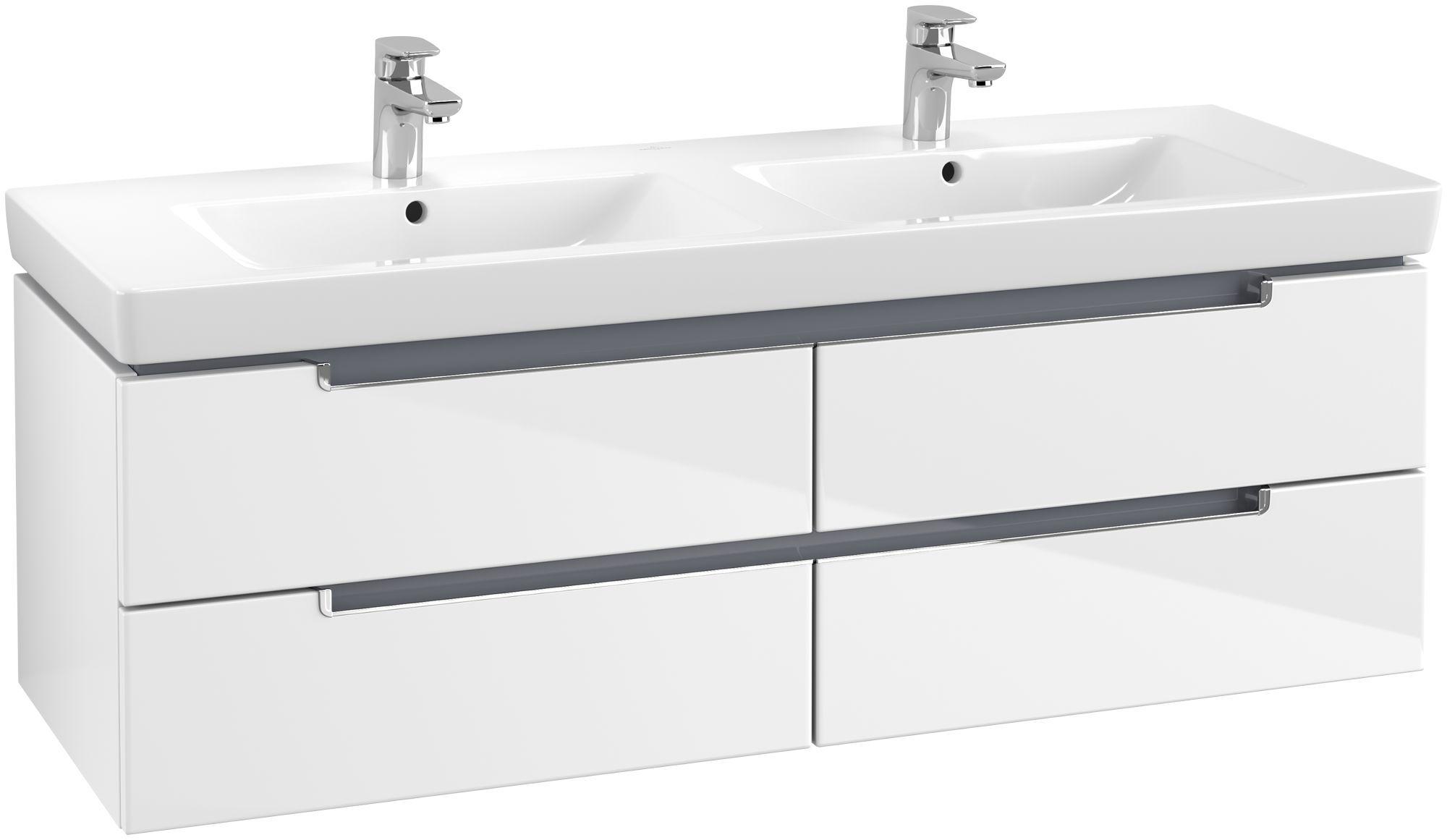 Villeroy & Boch Subway 2.0 Waschtischunterschrank 4 Auszüge B:1287xT:449xH:420mm glossy weiß Griffe chrom A69210DH