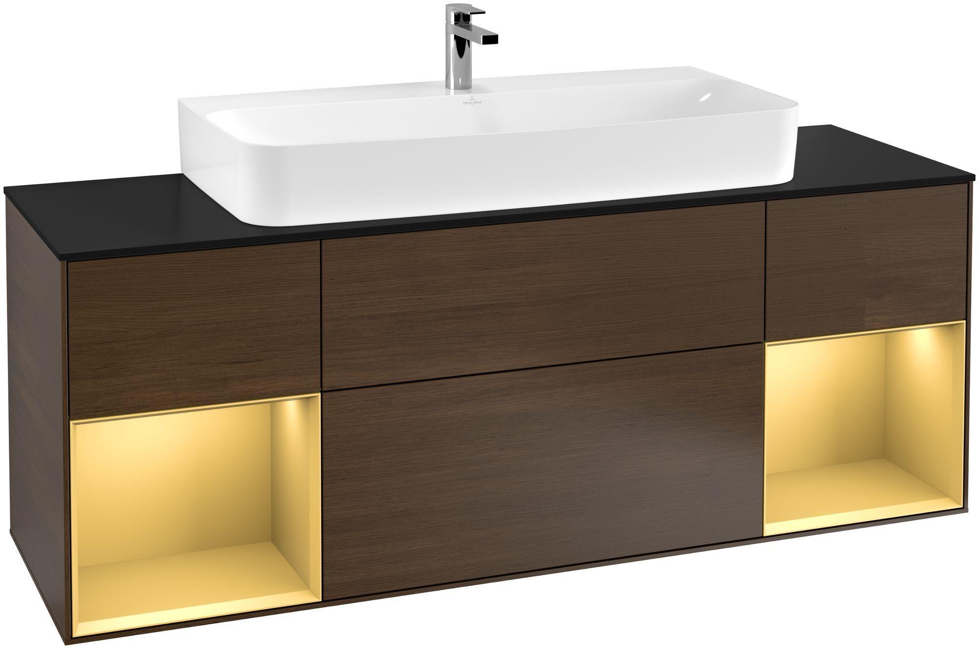 Villeroy & Boch Finion F21 Waschtischunterschrank mit Regalelement 4 Auszüge Waschtisch mittig LED-Beleuchtung B:160xH:60,3xT:50,1cm Front, Korpus: Walnut Veneer, Regal: Gold Matt, Glasplatte: Black Matt F212HFGN