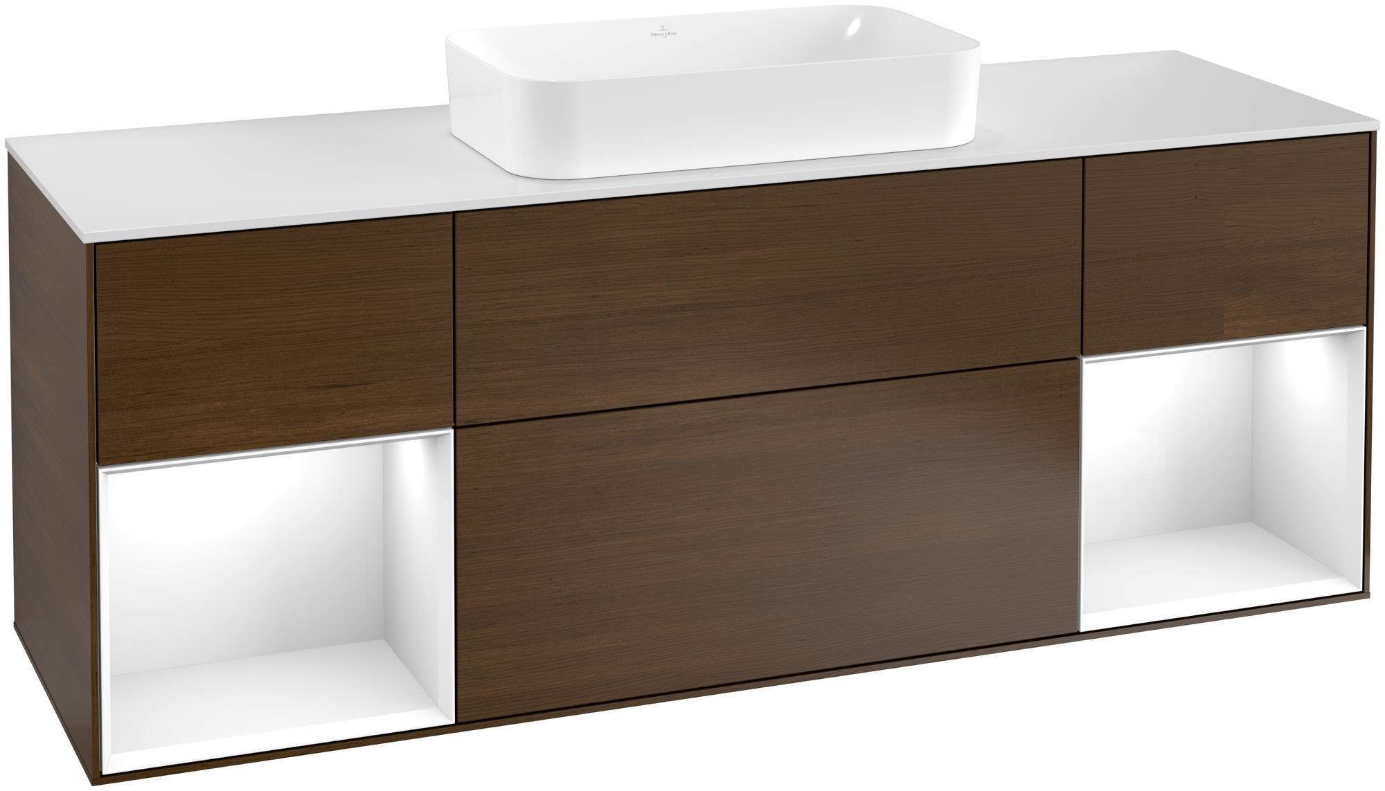 Villeroy & Boch Finion F33 Waschtischunterschrank mit Regalelement 4 Auszüge Waschtisch mittig LED-Beleuchtung B:160xH:60,3xT:50,1cm Front, Korpus: Walnut Veneer, Regal: Glossy White Lack, Glasplatte: White Matt F331GFGN