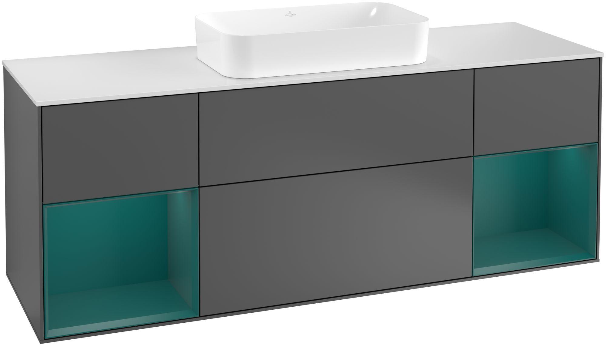Villeroy & Boch Finion F33 Waschtischunterschrank mit Regalelement 4 Auszüge Waschtisch mittig LED-Beleuchtung B:160xH:60,3xT:50,1cm Front, Korpus: Anthracite Matt, Regal: Cedar, Glasplatte: White Matt F331GSGK
