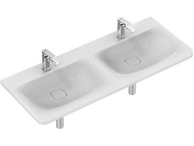 Ideal Standard Tonic II Möbel-Doppelwaschtisch B:121,5xT:49xH:17cm 1 Hahnloch mittig ohne Überlauf Überlaufsystem Ideal Flow weiß K087301